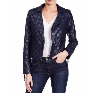 TOV Checkered Leather Jacket New With Tags